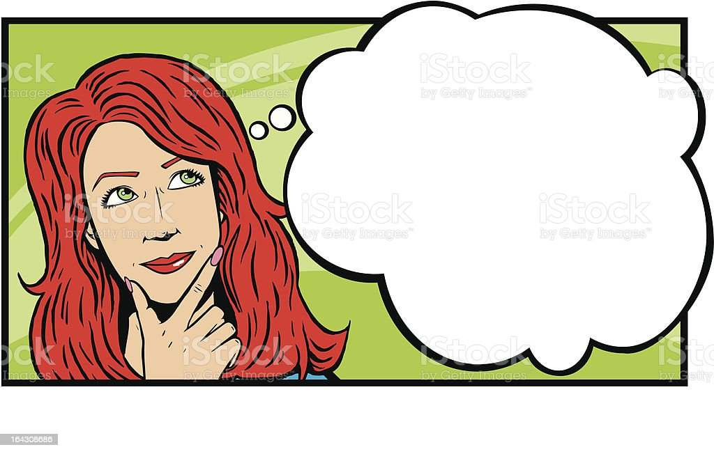 Woman thinking/day dreaming. vector art illustration