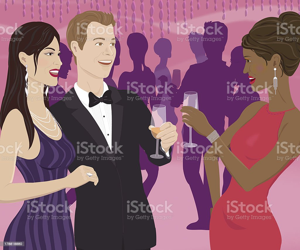 woman toasting a couple royalty-free stock vector art