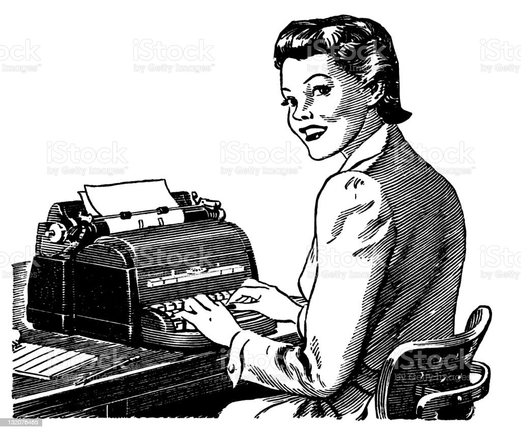 Woman Typing on Typewriter at Desk vector art illustration