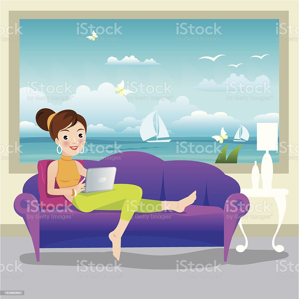 Woman using laptop on sofa royalty-free stock vector art