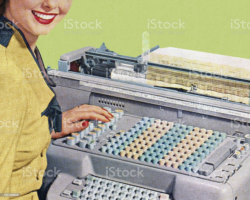 Woman Using Office Equipment vector art illustration