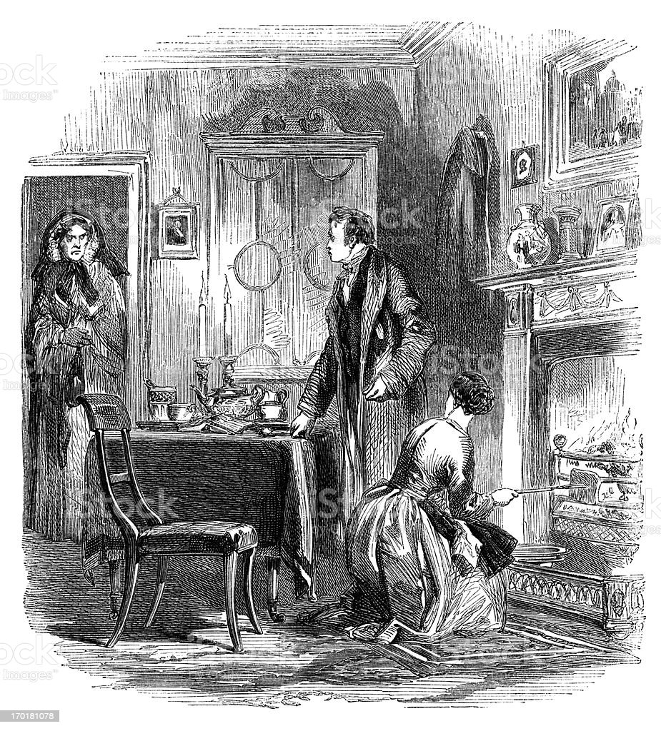 Woman visiting a married couple (1855 engraving) royalty-free stock vector art