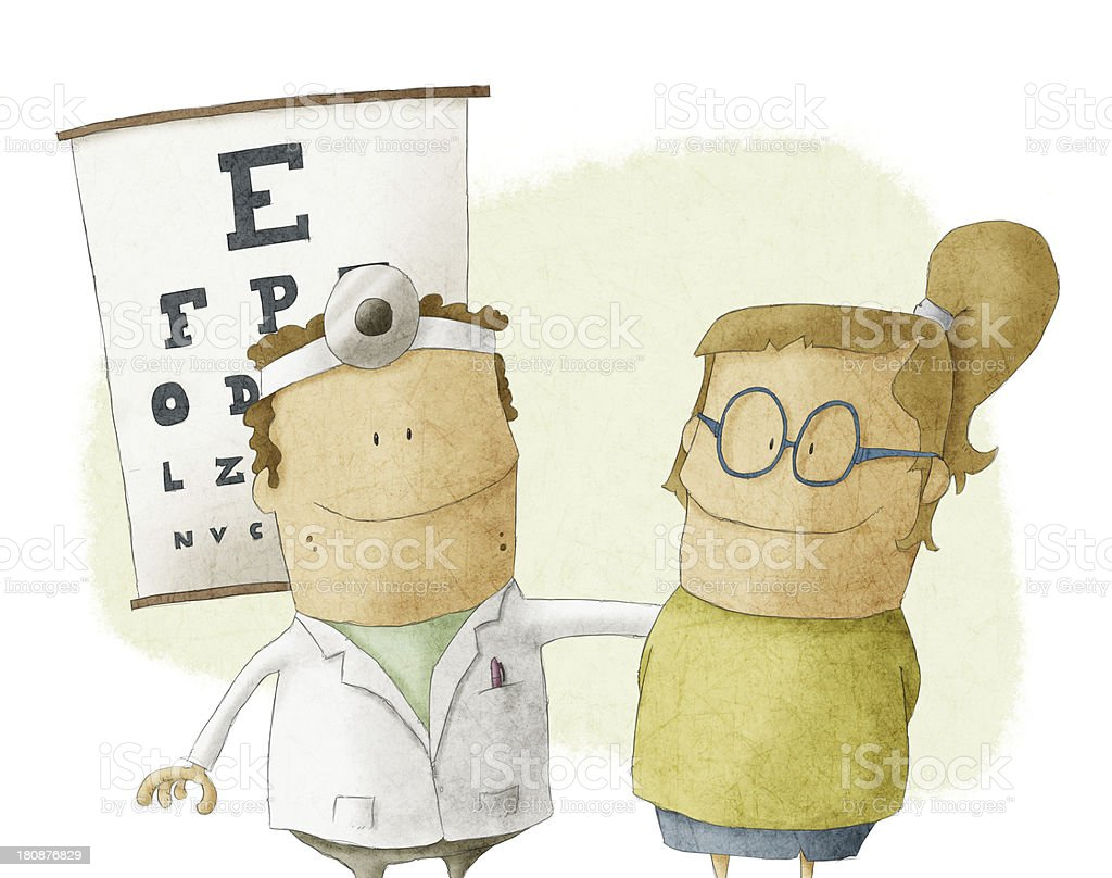 woman visits oculist doctor royalty-free stock vector art