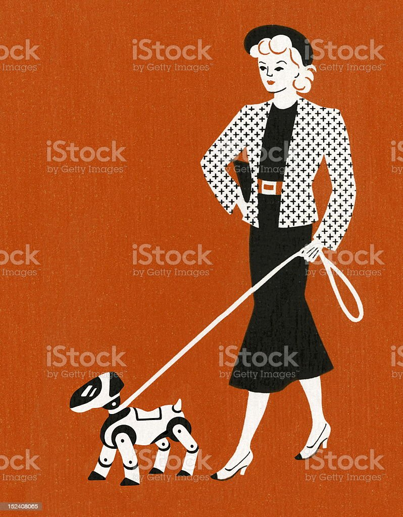 Woman Walking Dog on Leash royalty-free stock vector art
