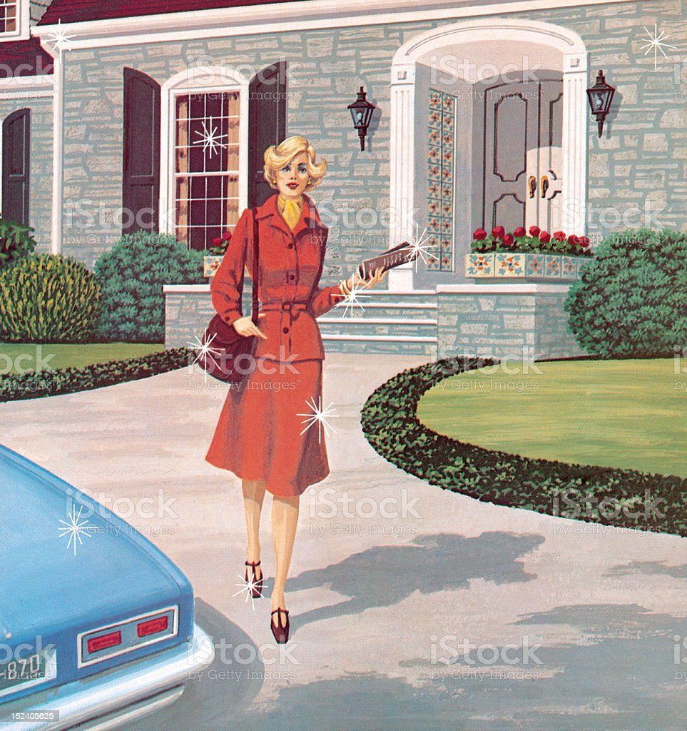 Woman Walking to Car vector art illustration