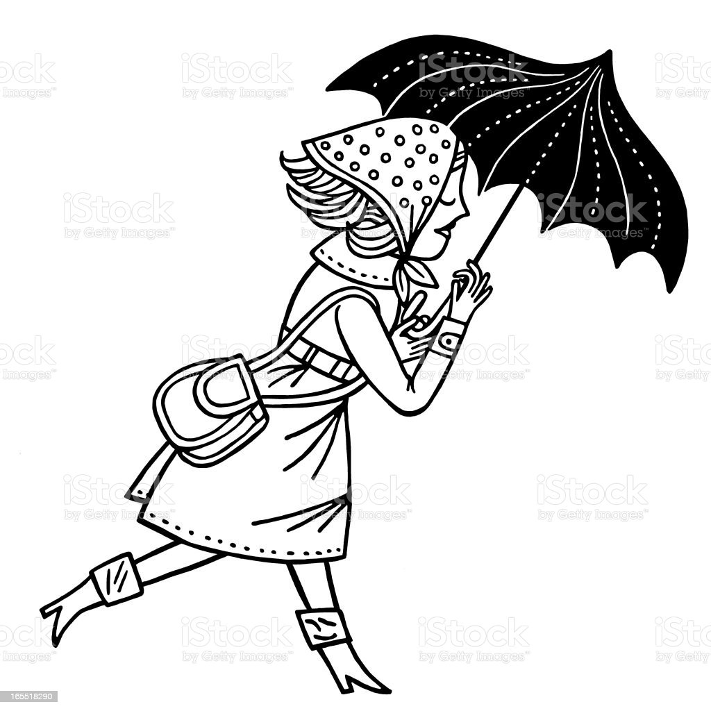 Woman Walking With an Umbrella royalty-free stock vector art