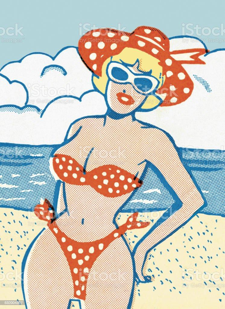 Woman Wearing a Polka Dot Bikini vector art illustration