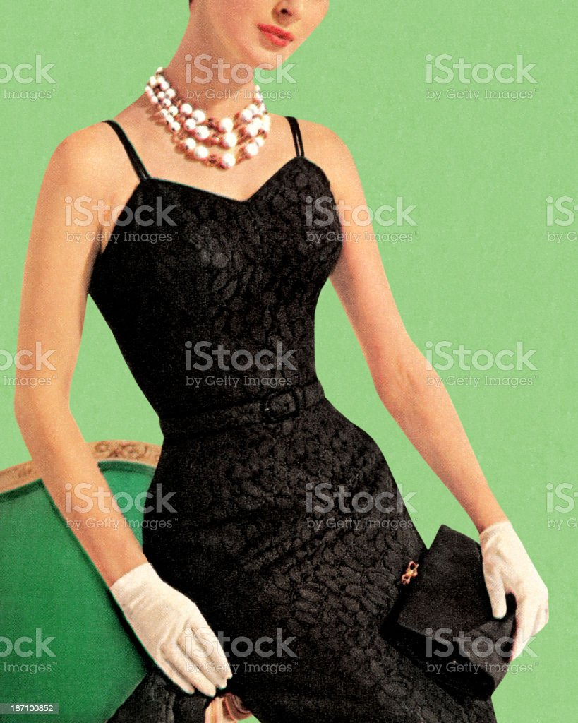 Woman wearing black dress and pearl necklace vector art illustration