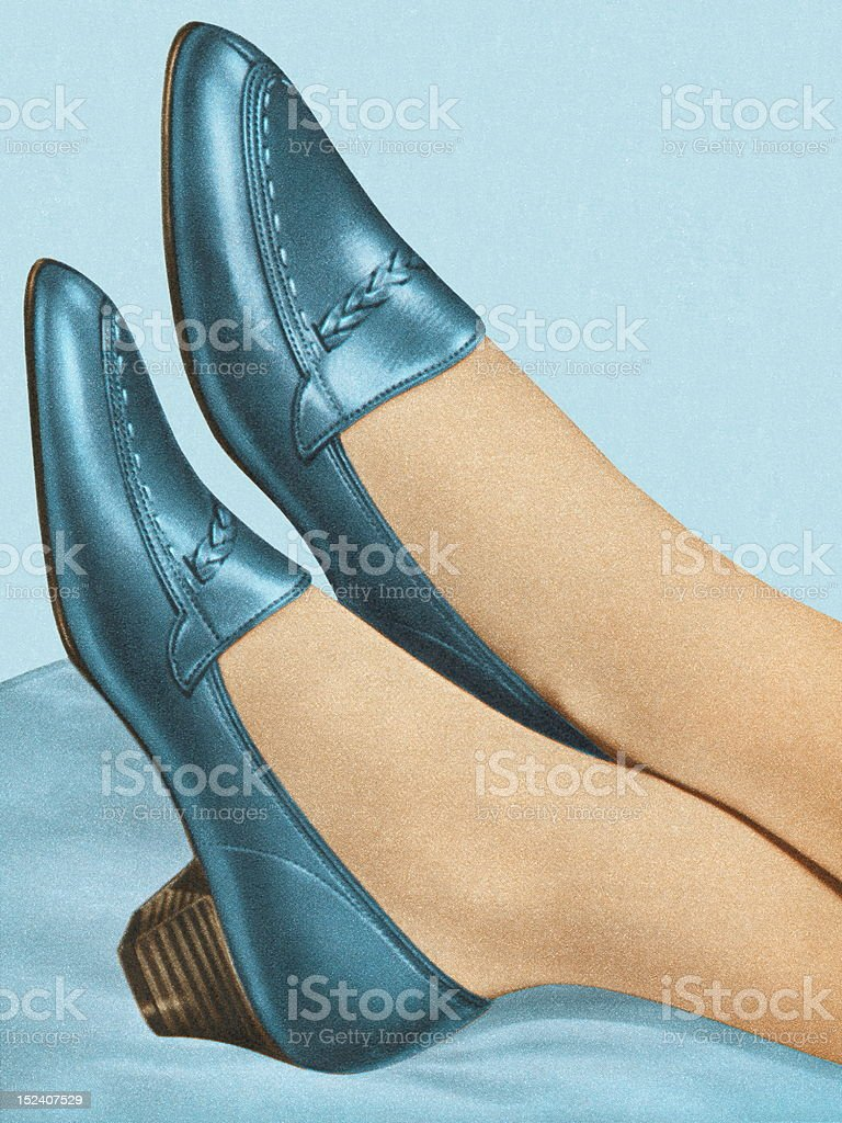 Woman Wearing Blue Shoes royalty-free stock vector art