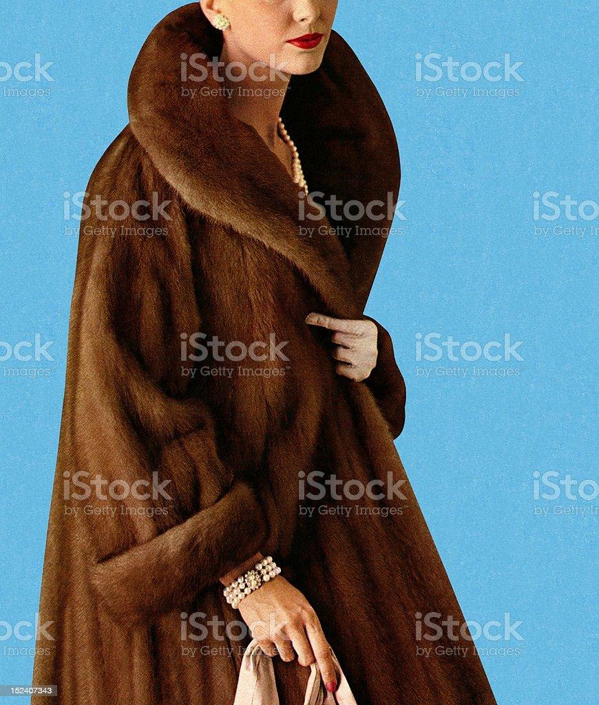 Woman Wearing Fur Coat royalty-free stock vector art