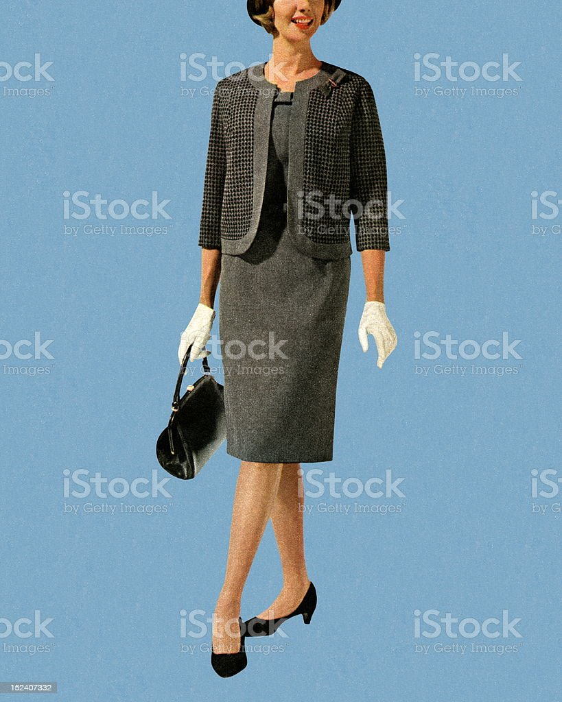 Woman Wearing Grey Suit royalty-free stock vector art