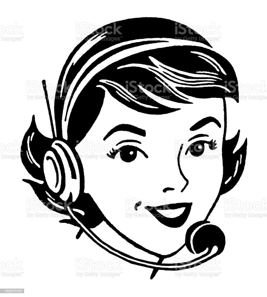 Woman Wearing Headset royalty-free stock vector art