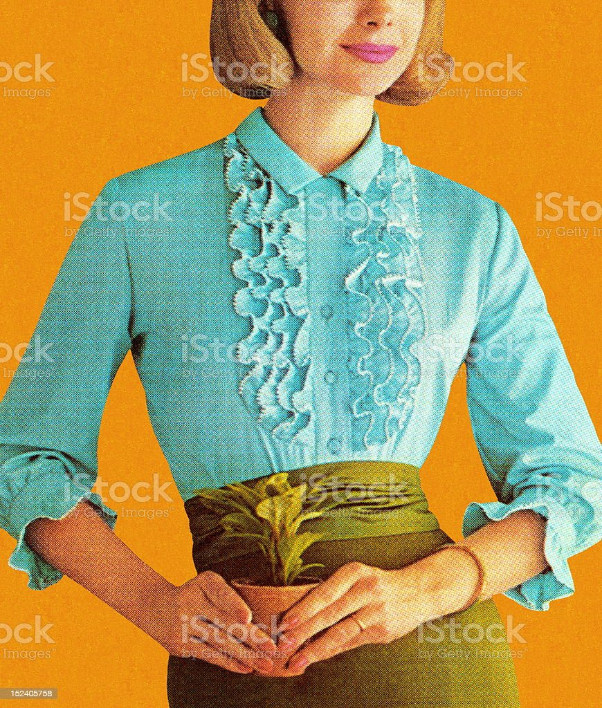 Woman Wearing Turquoise Blouse vector art illustration