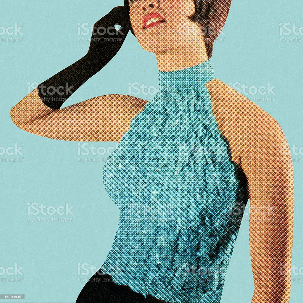 Woman Wearing Turquoise Top vector art illustration