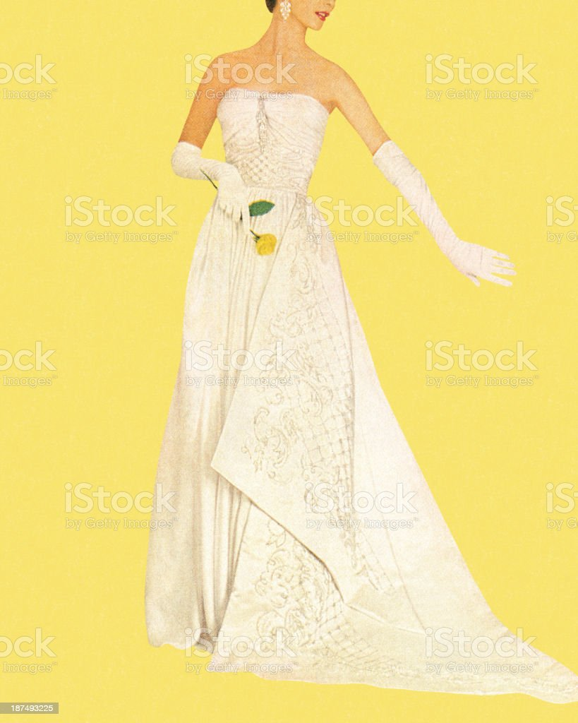 Woman Wearing White Dress and Holding Rose vector art illustration