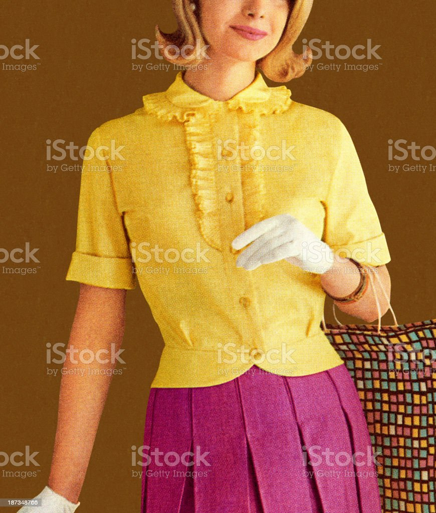 Woman Wearing Yellow Top and White Gloves vector art illustration