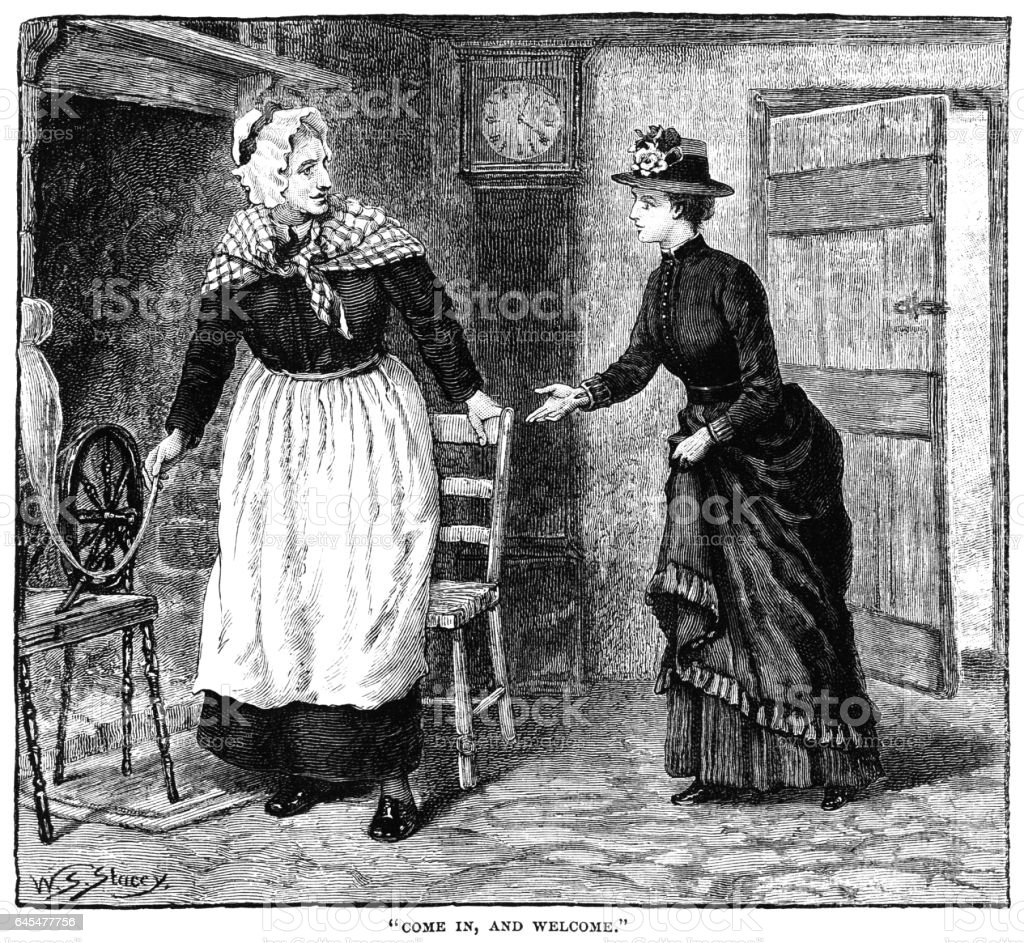 Woman welcoming a Victorian lady into her cottage vector art illustration