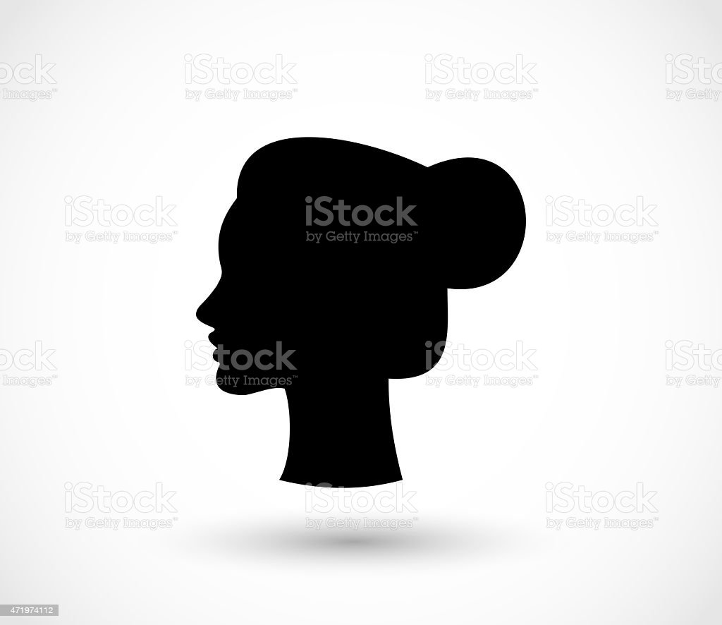 Woman with a bun black silhouette illustration vector art illustration
