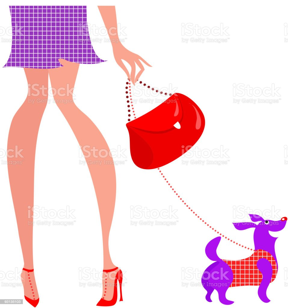 woman with a doggy royalty-free stock vector art