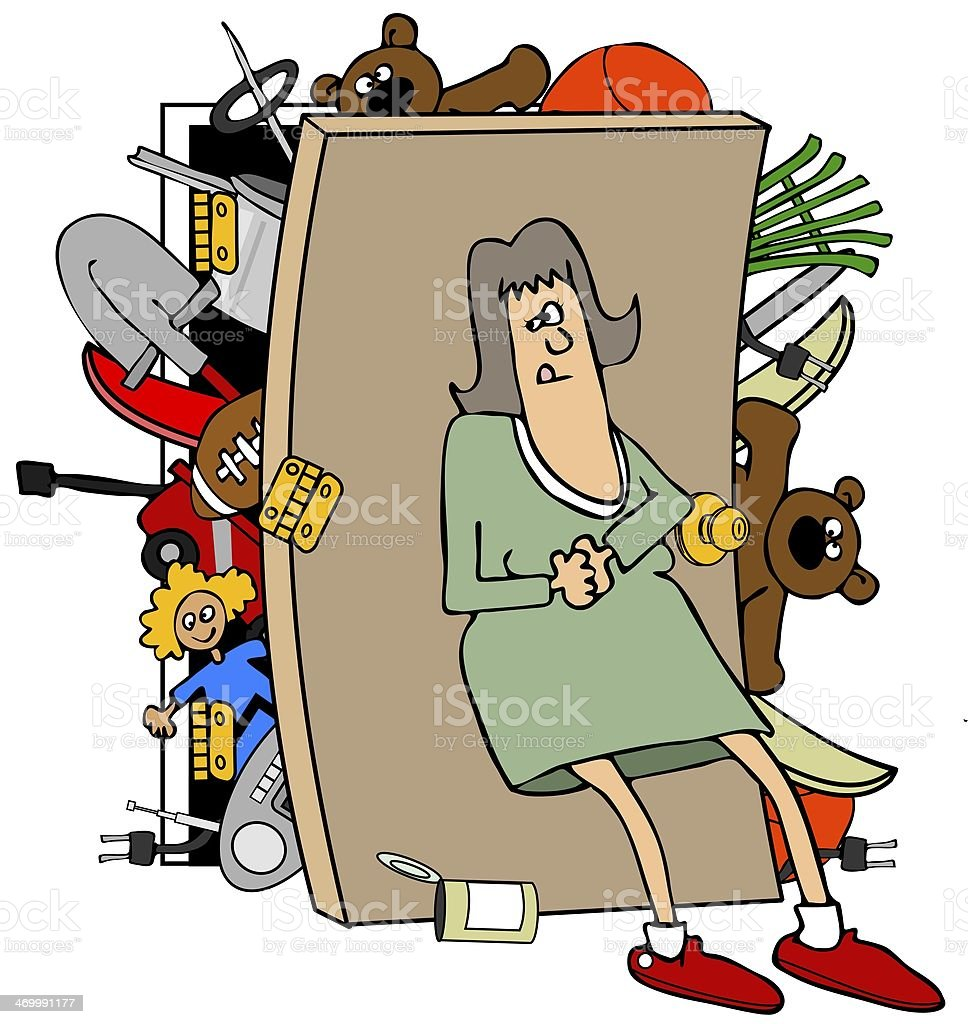 Woman with a full closet vector art illustration