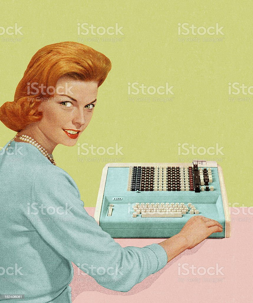 Woman With Adding Machine vector art illustration