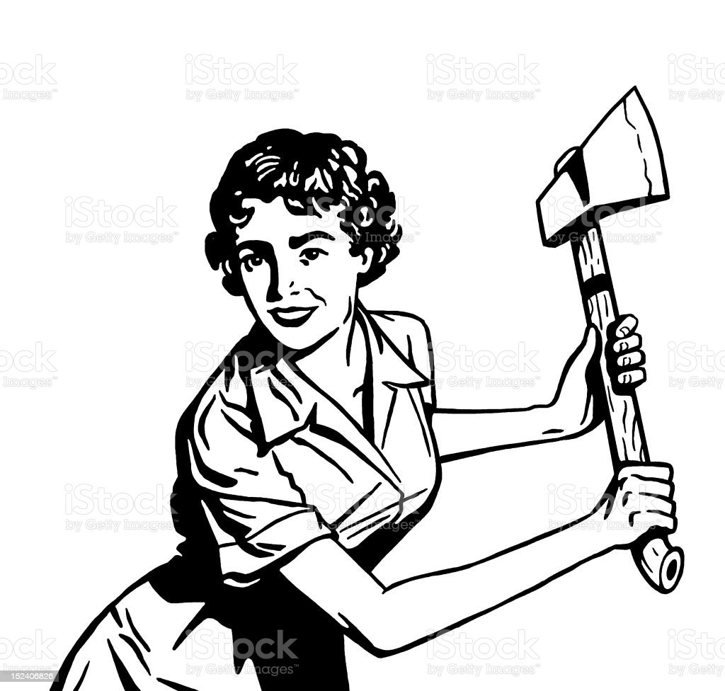 Woman With Axe royalty-free stock vector art