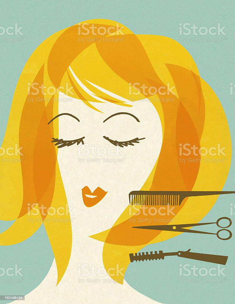 Woman With Barbering Implements royalty-free stock vector art