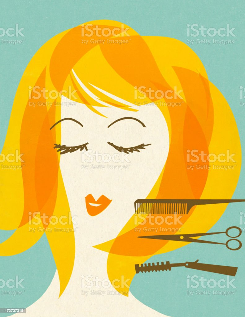 Woman With Barbering Implements vector art illustration