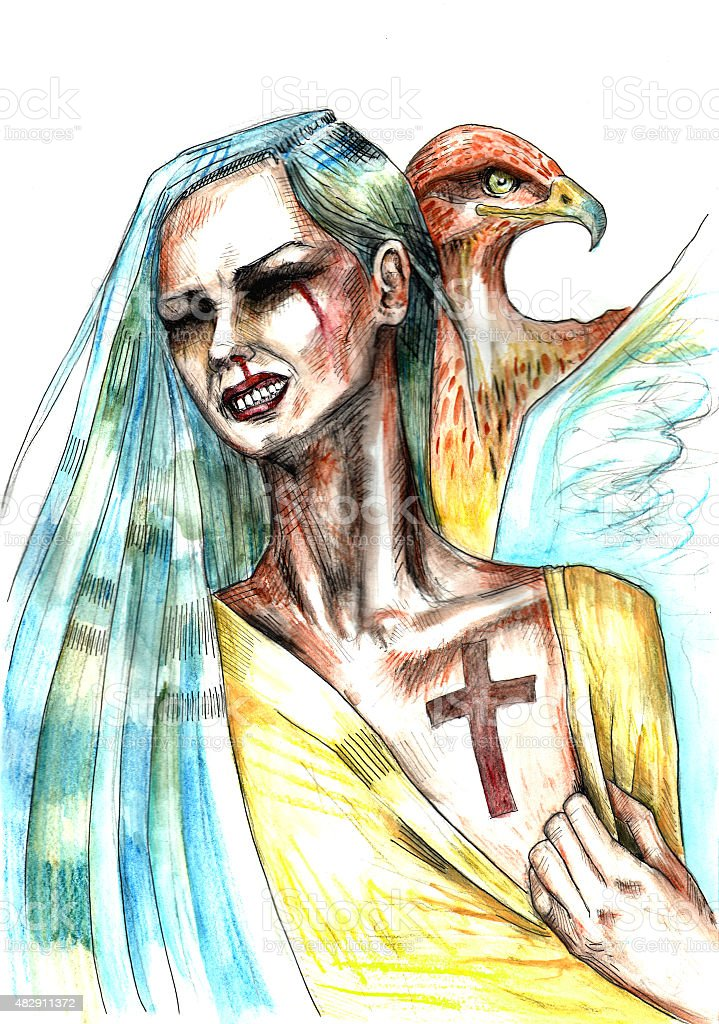 Woman with cross scar on her chest and hawk beside vector art illustration