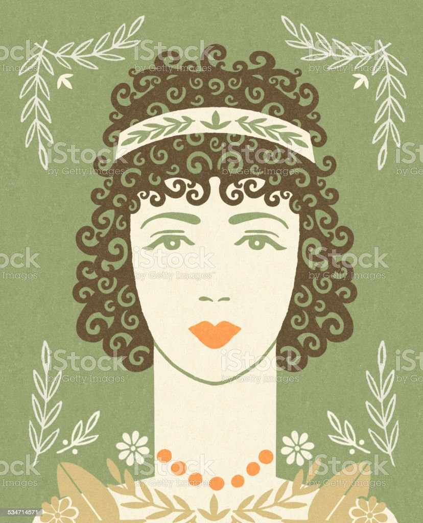 Woman With Curly Hair vector art illustration