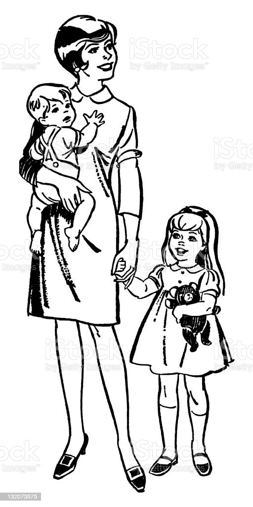 Woman With Daughter and Baby royalty-free stock vector art