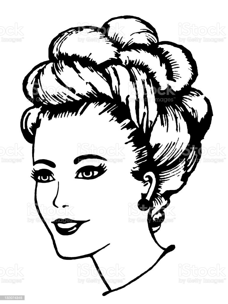 Woman With Fancy Updo royalty-free stock vector art