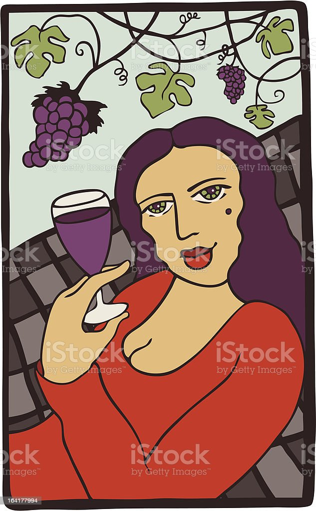 Woman with Glass of Wine royalty-free stock vector art