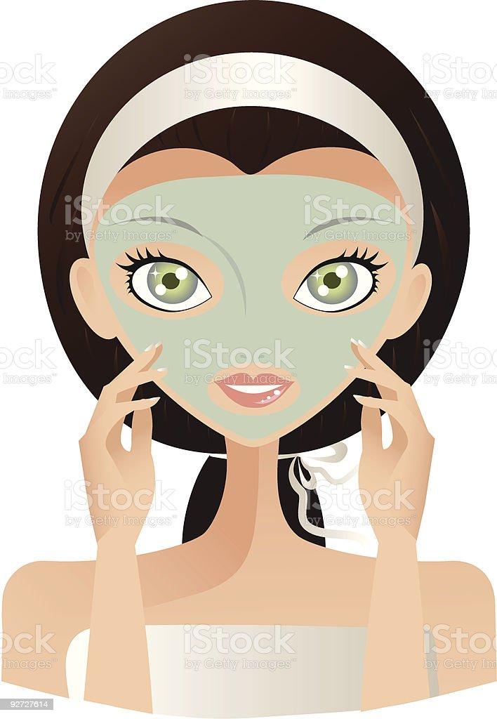 Mujer con máscara Facial verde illustracion libre de derechos libre de derechos