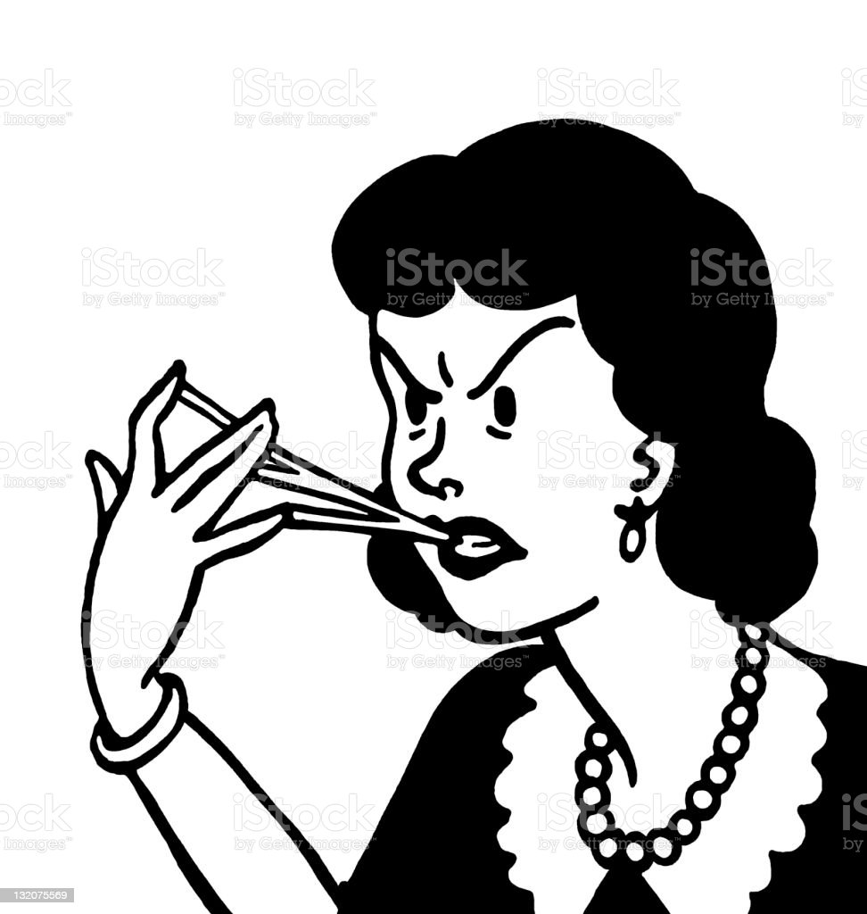 Woman With Gum Stuck to Her Fingers royalty-free stock vector art