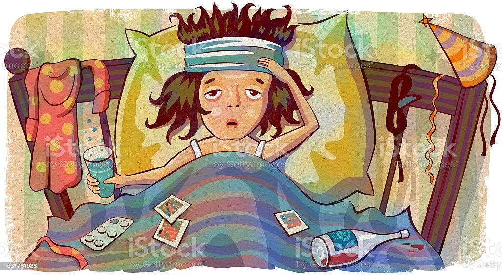 Woman with hangover lying in bed after party. vector art illustration