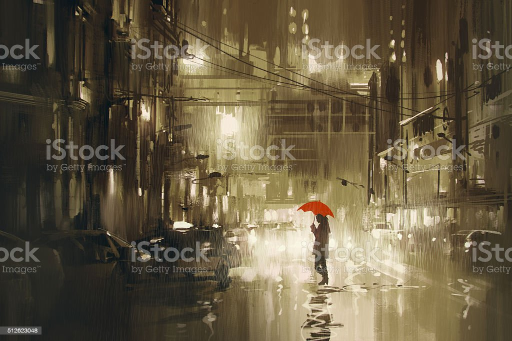 woman with red umbrella crossing the street,rainy night vector art illustration