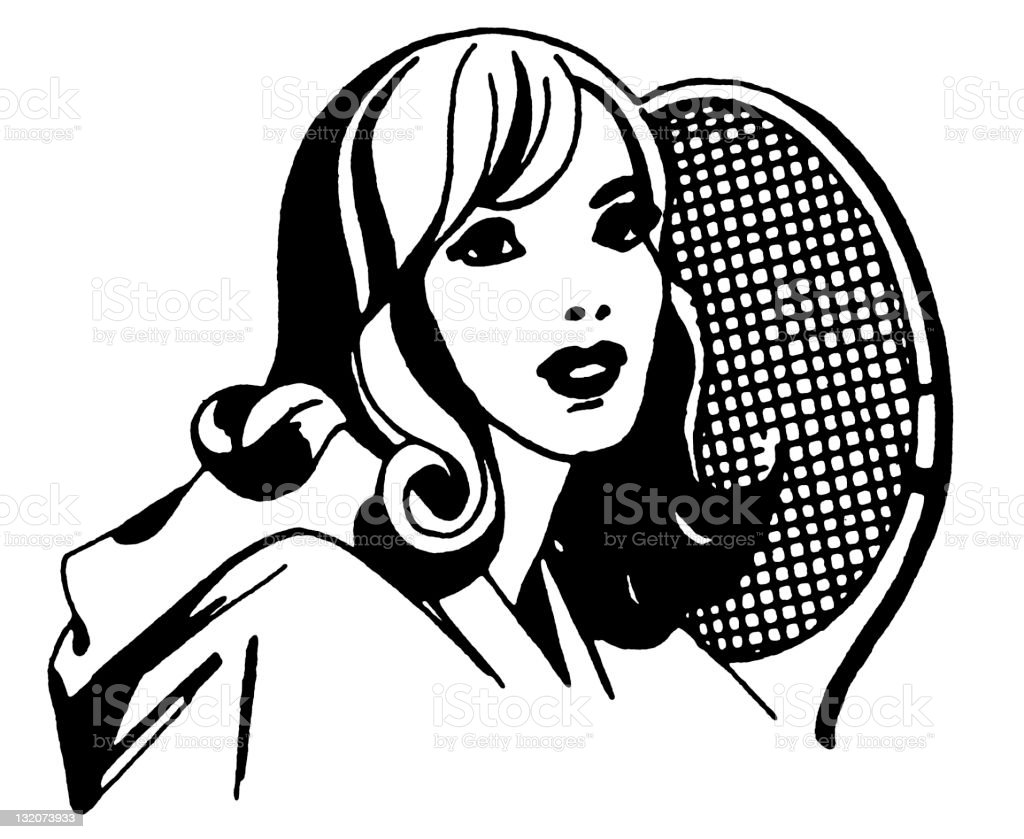 Woman With Tennis Racket royalty-free stock vector art