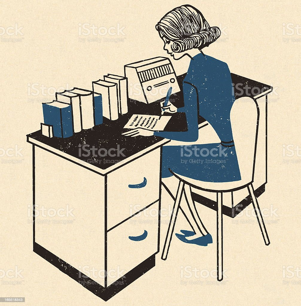 Woman Working at a Desk royalty-free stock vector art
