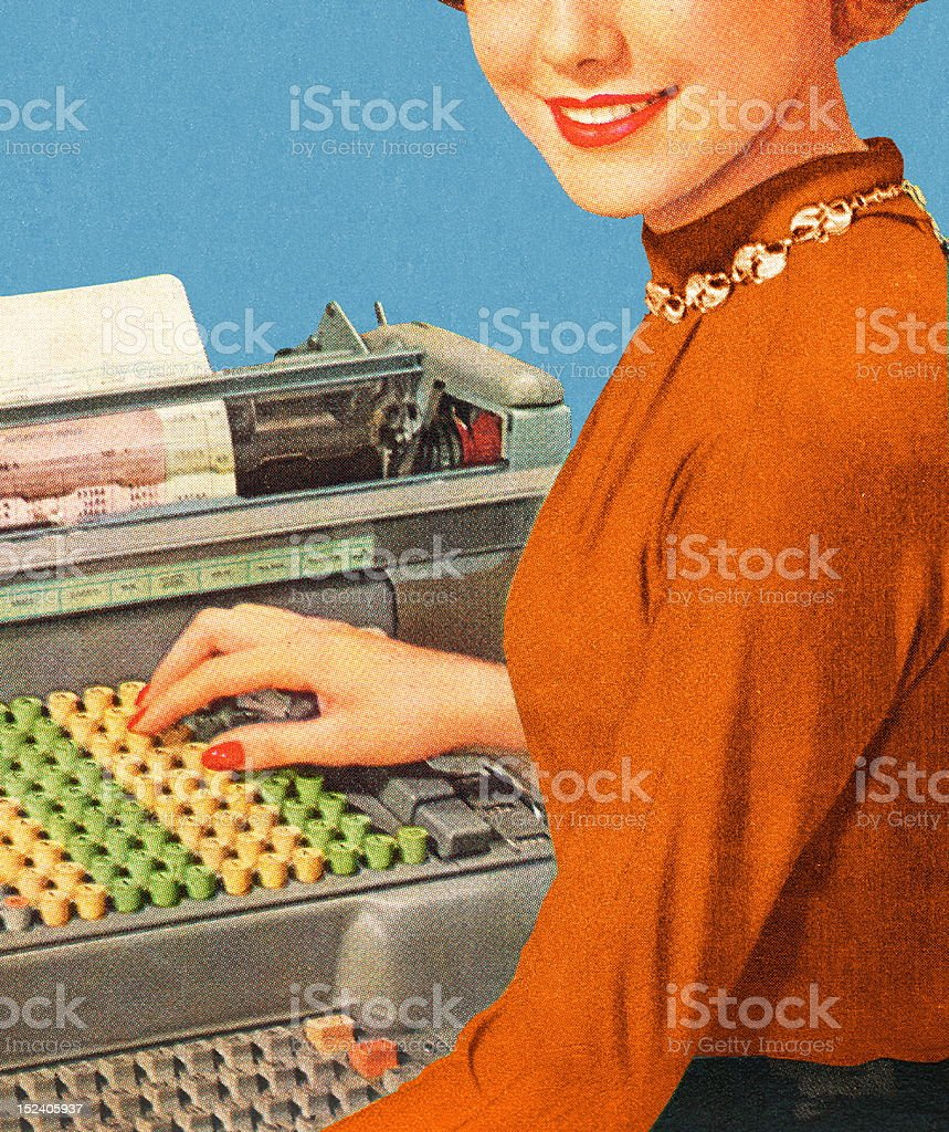 Woman Working at Machine royalty-free stock vector art
