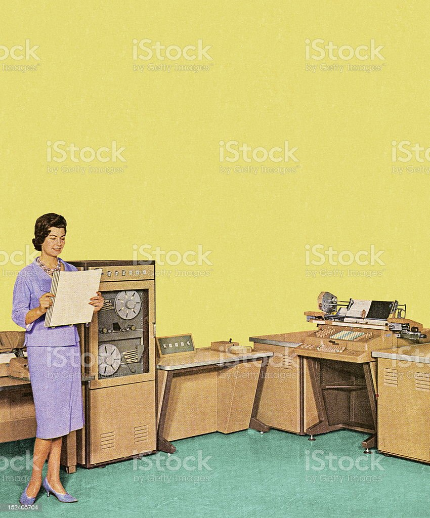 Woman Working in Office royalty-free stock vector art