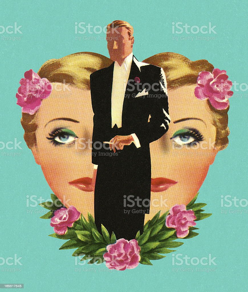 Woman's Face and Man Wearing a Tux royalty-free stock vector art