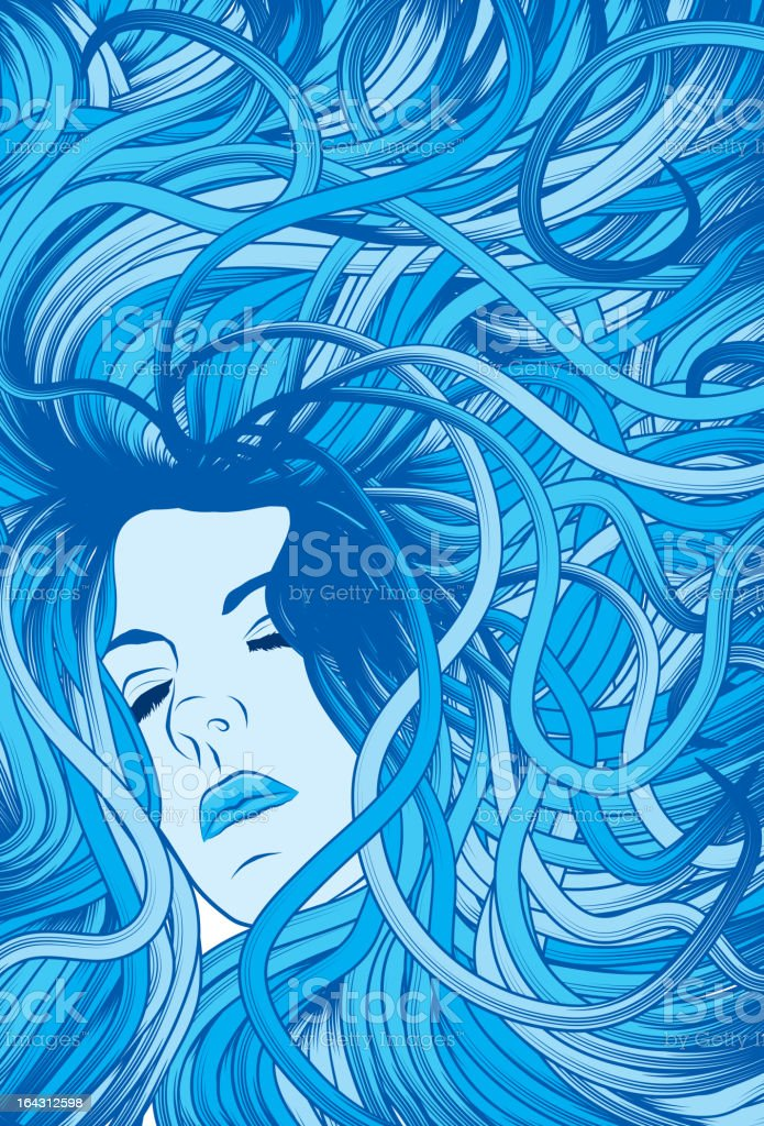 Woman's face with long detailed flowing blue hair royalty-free stock vector art