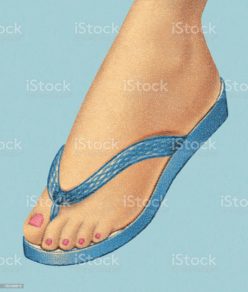 Woman's Foot Wearing Flip Flop Shoe royalty-free stock vector art