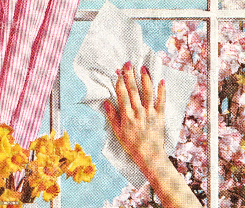 Woman's Hand Cleaning Window vector art illustration