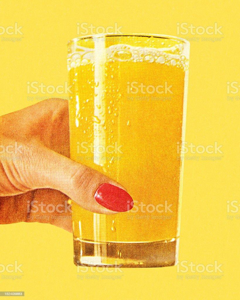 Woman's Hand Holding Glass of Orange Juice royalty-free stock vector art