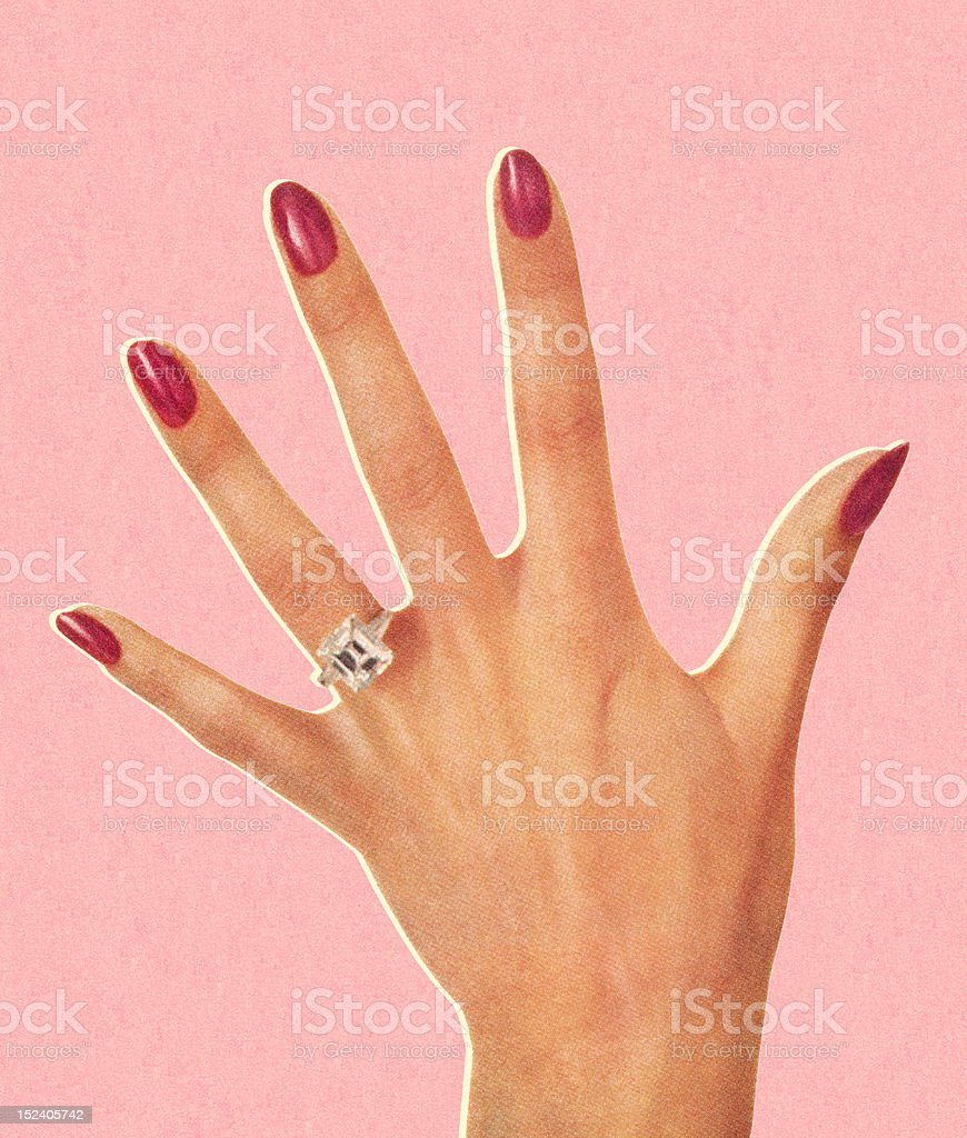 Woman's Hand Wearing Engagement Ring vector art illustration