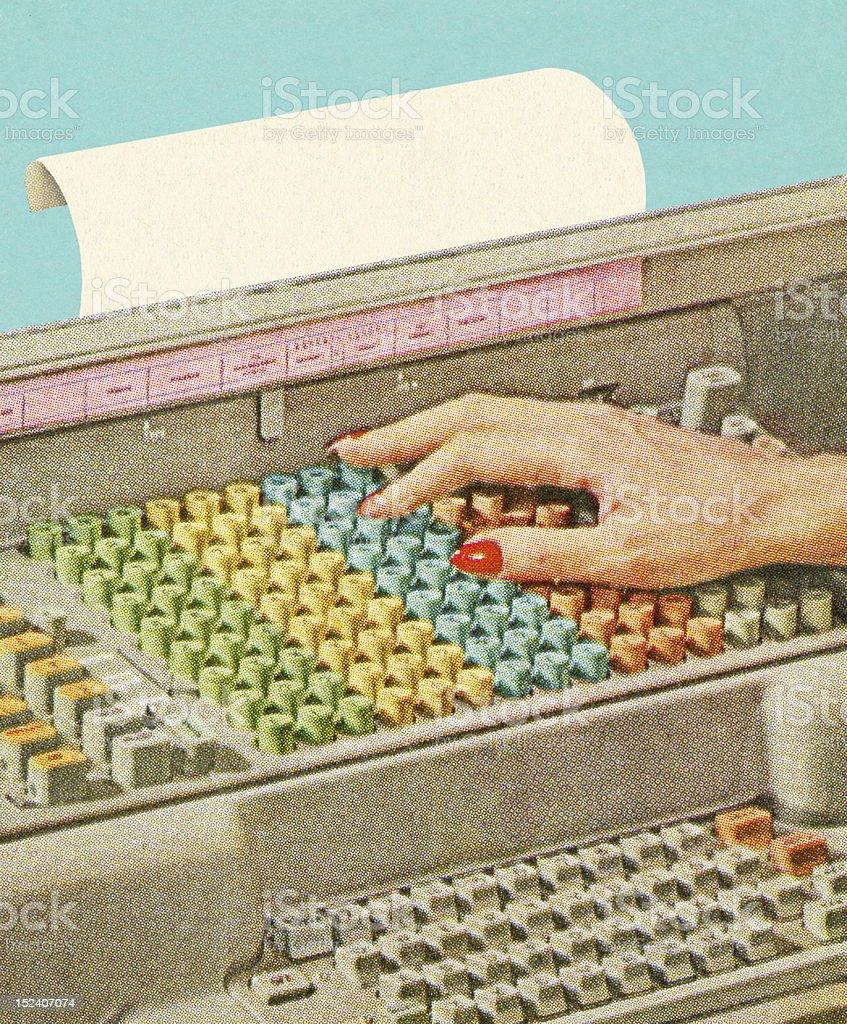 Woman's Hands on Keys vector art illustration