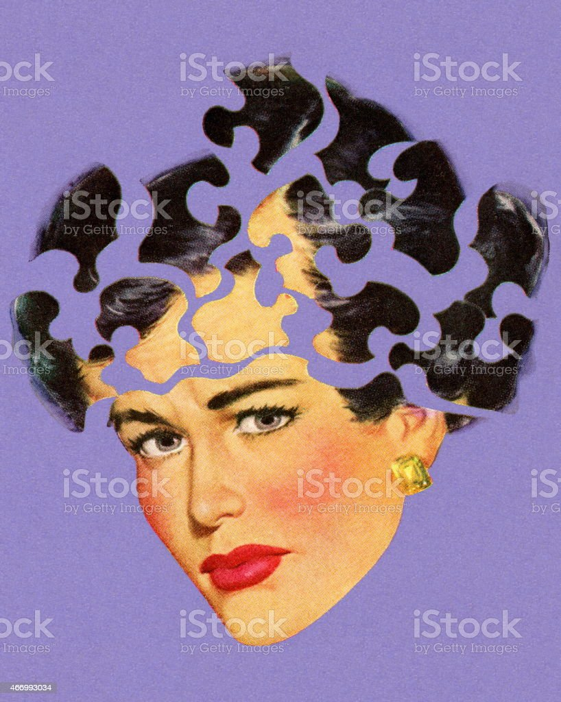 Woman's Head in Puzzle Pieces vector art illustration