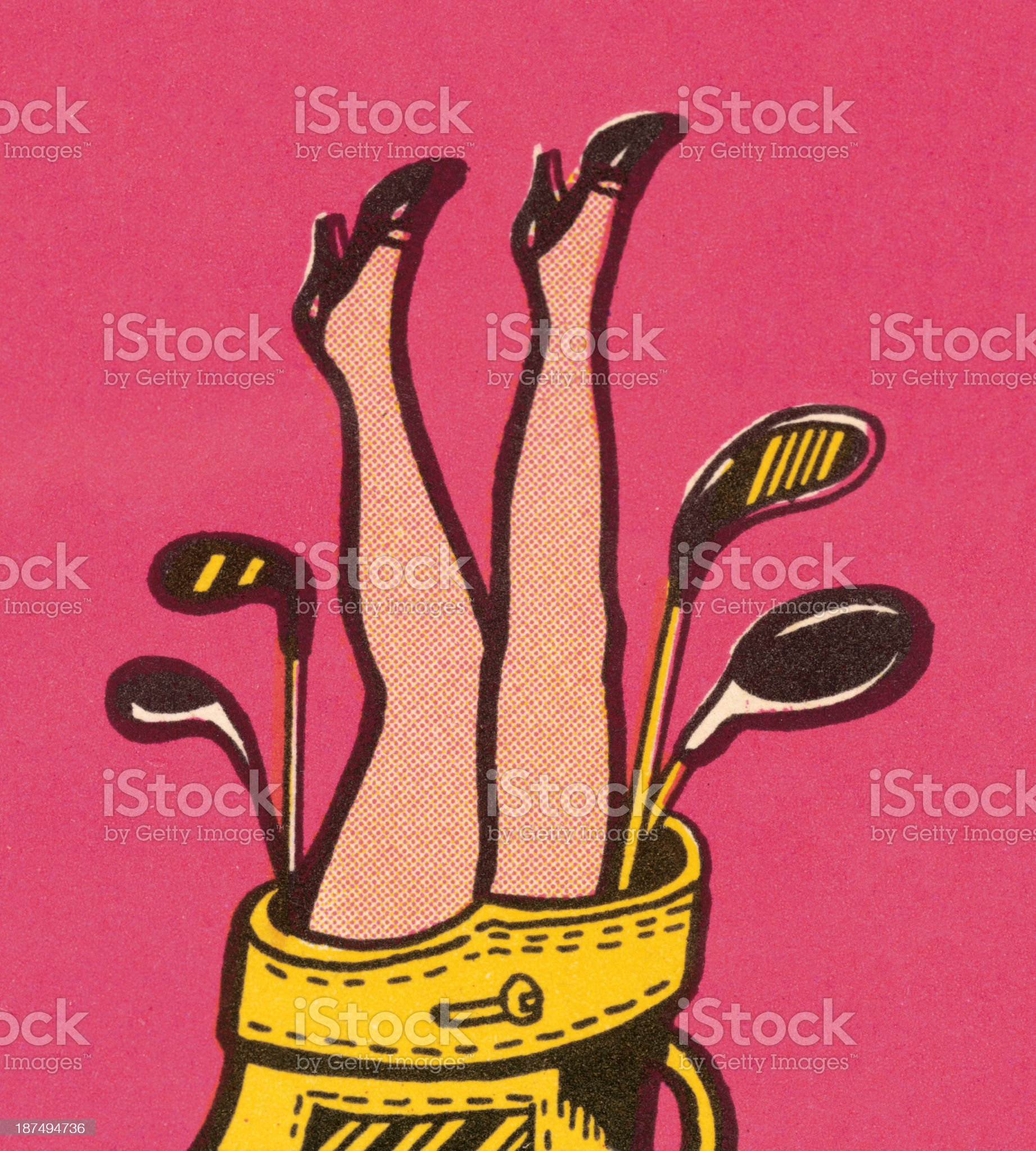 Woman's Legs in Golf Bag royalty-free stock vector art